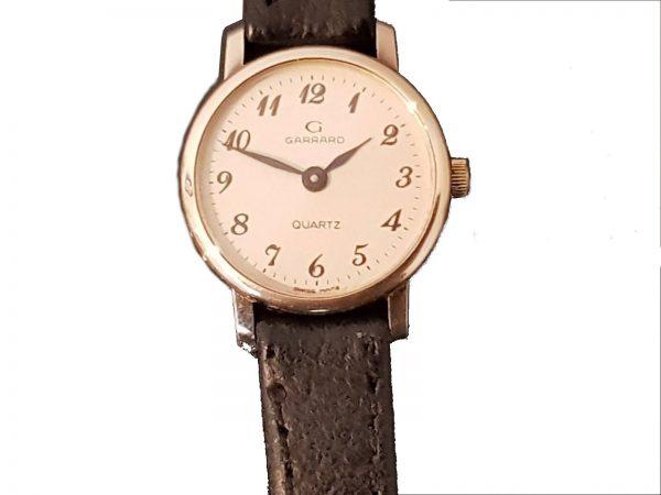 Garrard 9ct Gold Ladies Watch on Leather Watch Strap